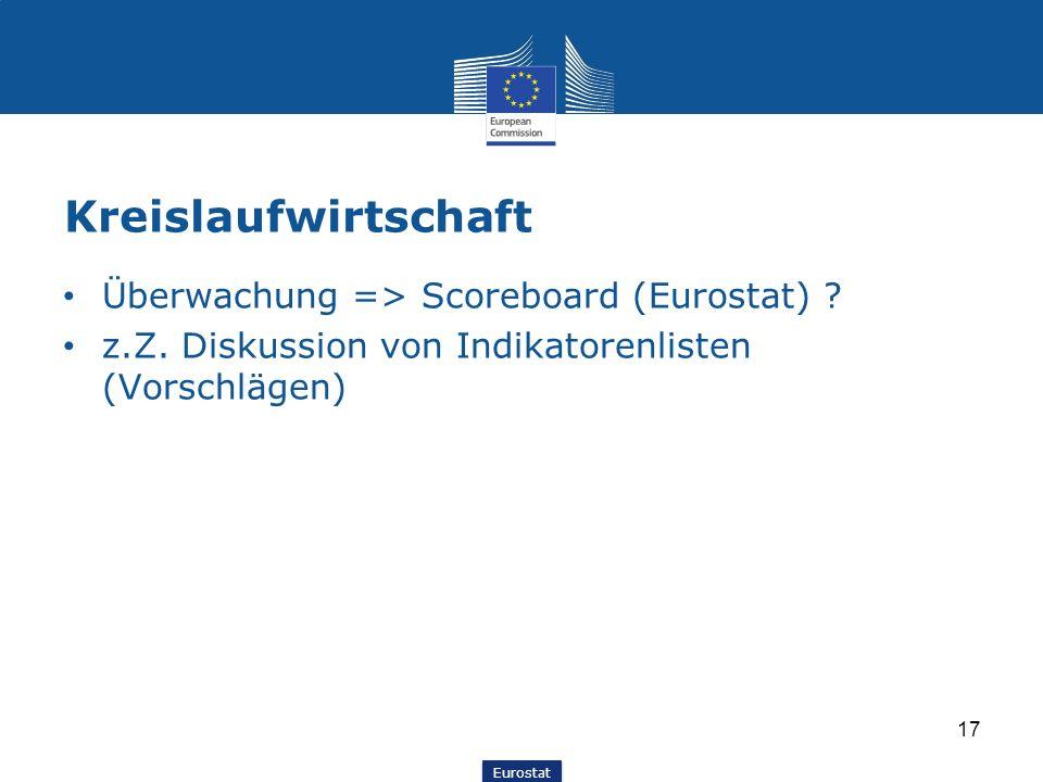 Eurostat Kreislaufwirtschaft Überwachung => Scoreboard (Eurostat) ? z.Z. Diskussion von Indikatorenlisten (Vorschlägen) 17