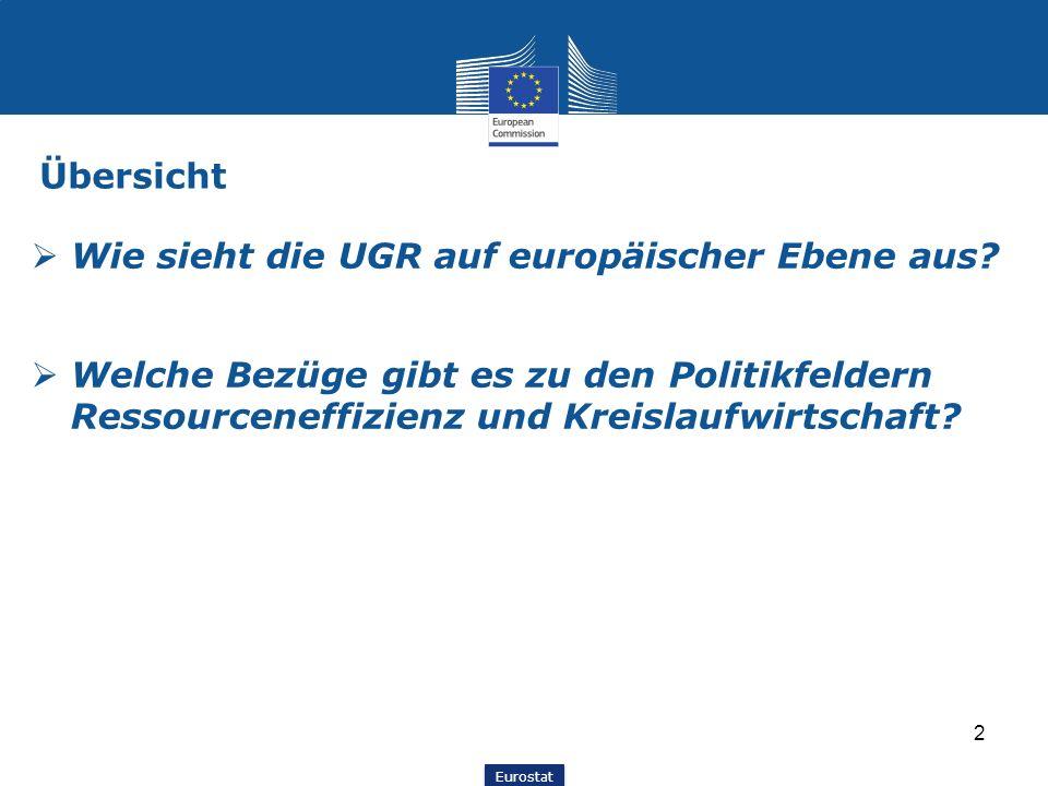 Eurostat 2 Übersicht  Wie sieht die UGR auf europäischer Ebene aus?  Welche Bezüge gibt es zu den Politikfeldern Ressourceneffizienz und Kreislaufwi