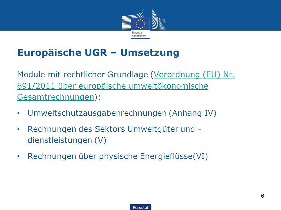 Eurostat Europäische UGR – Umsetzung Module mit rechtlicher Grundlage (Verordnung (EU) Nr. 691/2011 über europäische umweltökonomische Gesamtrechnunge