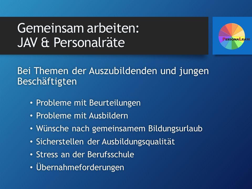 Bei Themen der Auszubildenden und jungen Beschäftigten Probleme mit Beurteilungen Probleme mit Beurteilungen Probleme mit Ausbildern Probleme mit Ausb