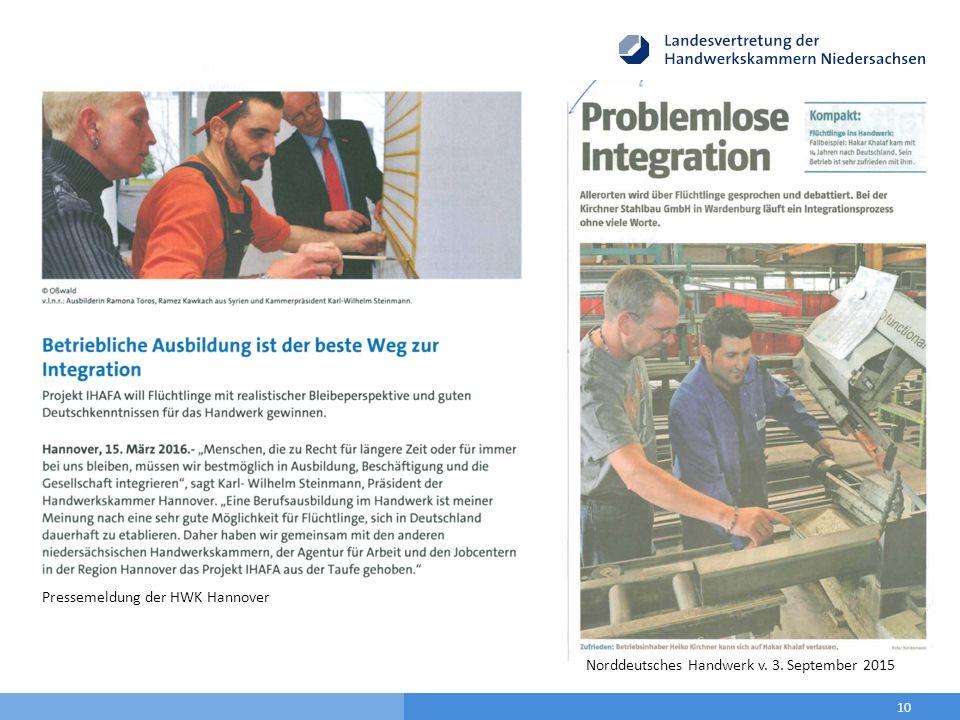 10 Pressemeldung der HWK Hannover Norddeutsches Handwerk v. 3. September 2015