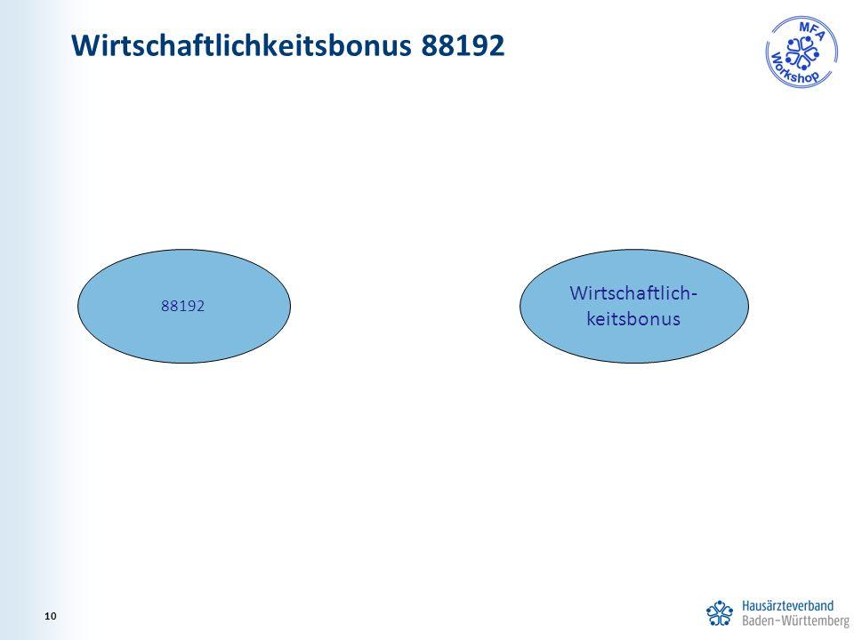 Wirtschaftlichkeitsbonus 88192 10 88192 Wirtschaftlich- keitsbonus