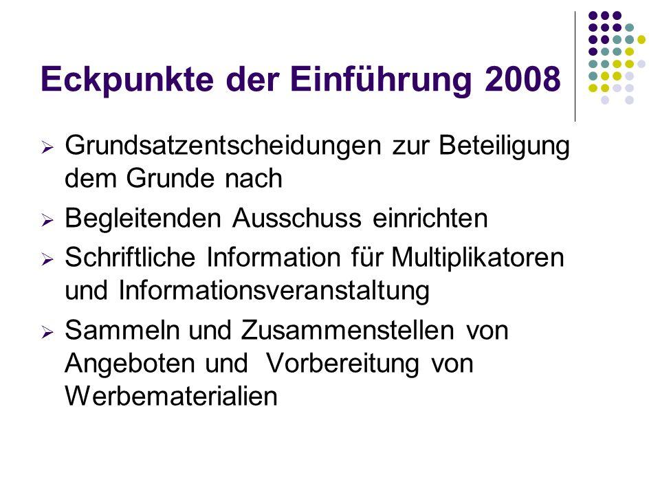 Eckpunkte der Einführung 2008  Grundsatzentscheidungen zur Beteiligung dem Grunde nach  Begleitenden Ausschuss einrichten  Schriftliche Information für Multiplikatoren und Informationsveranstaltung  Sammeln und Zusammenstellen von Angeboten und Vorbereitung von Werbematerialien