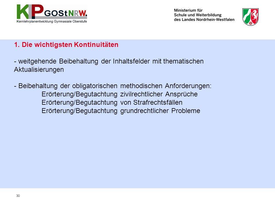 1. Die wichtigsten Kontinuitäten - weitgehende Beibehaltung der Inhaltsfelder mit thematischen Aktualisierungen - Beibehaltung der obligatorischen met