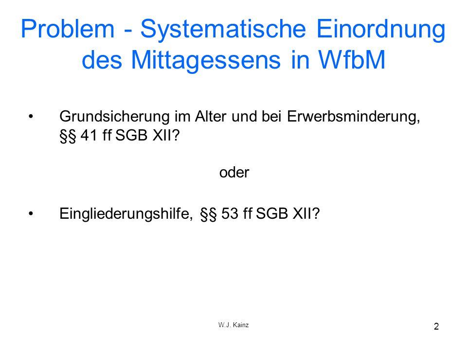 W.J. Kainz 2 Problem - Systematische Einordnung des Mittagessens in WfbM Grundsicherung im Alter und bei Erwerbsminderung, §§ 41 ff SGB XII? oder Eing