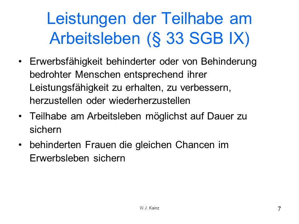 W.J.Kainz 8 Überblick über die wichtigsten Leistungen d.