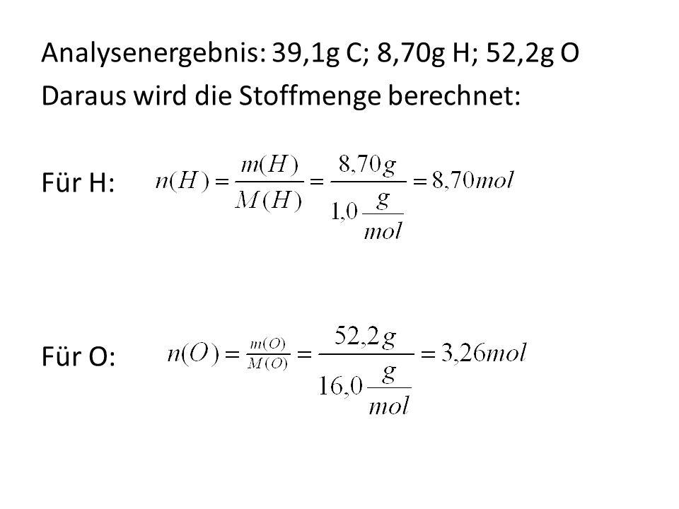 Analysenergebnis: 39,1g C; 8,70g H; 52,2g O Daraus wird die Stoffmenge berechnet: Für H: Für O: