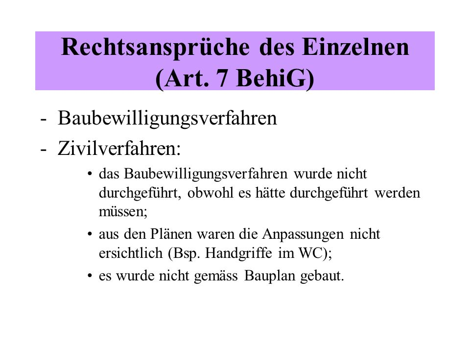 Rechtsansprüche des Einzelnen (Art.