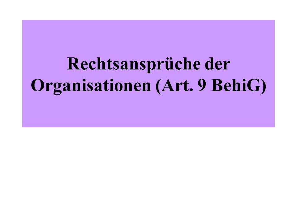 Rechtsansprüche der Organisationen (Art. 9 BehiG)