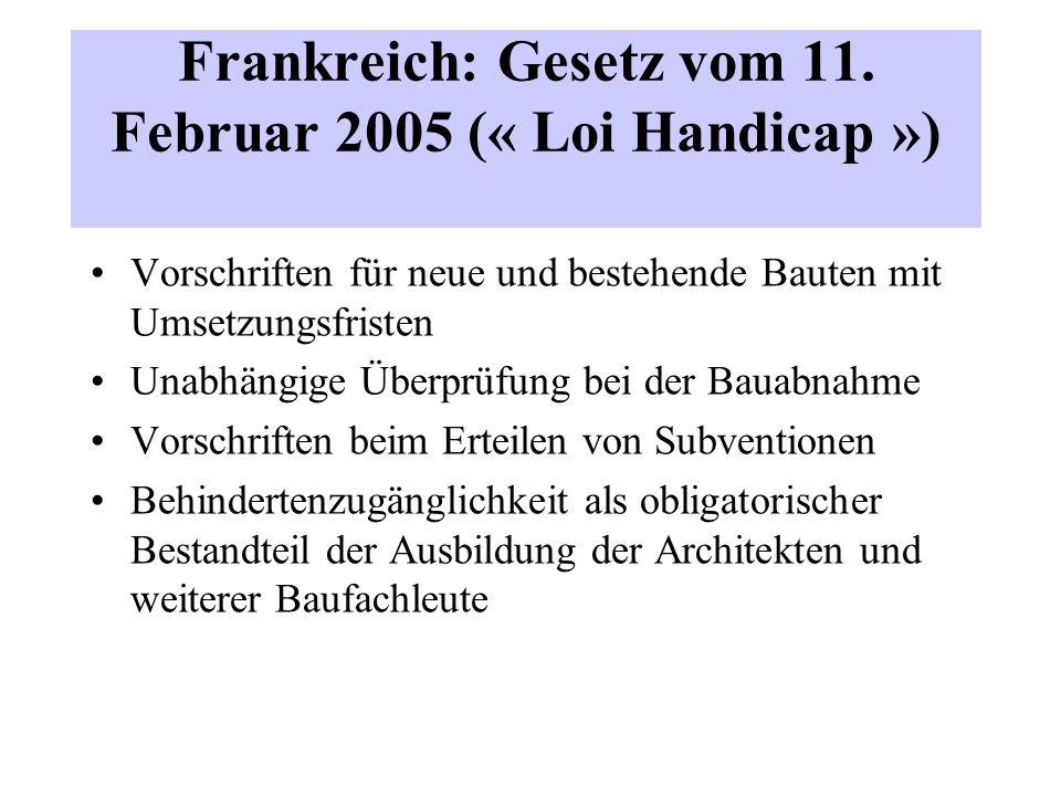 Frankreich: Gesetz vom 11. Februar 2005 (« Loi Handicap ») Vorschriften für neue und bestehende Bauten mit Umsetzungsfristen Unabhängige Überprüfung b