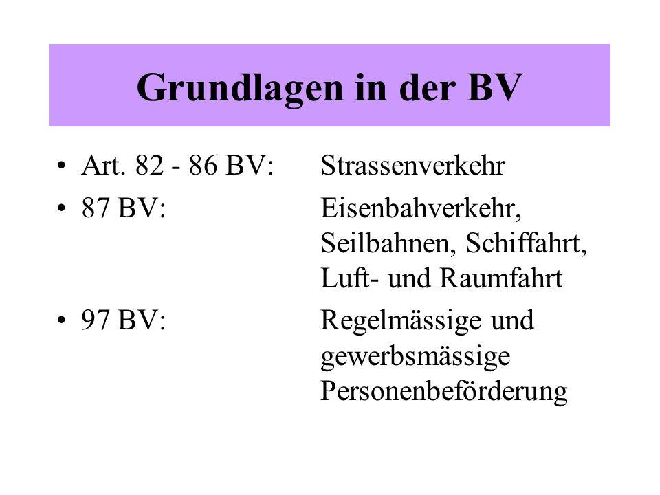 Grundlagen in der BV Art. 82 - 86 BV: Strassenverkehr 87 BV: Eisenbahverkehr, Seilbahnen, Schiffahrt, Luft- und Raumfahrt 97 BV: Regelmässige und gewe