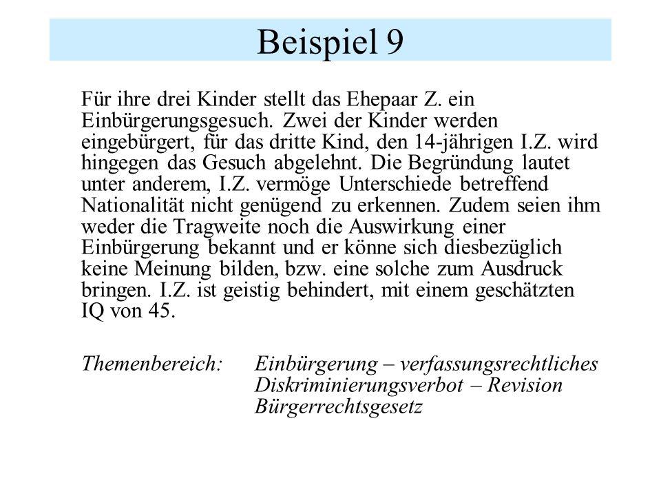 Beispiel 9 Für ihre drei Kinder stellt das Ehepaar Z.
