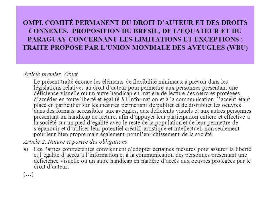 OMPI. COMITÉ PERMANENT DU DROIT D'AUTEUR ET DES DROITS CONNEXES.