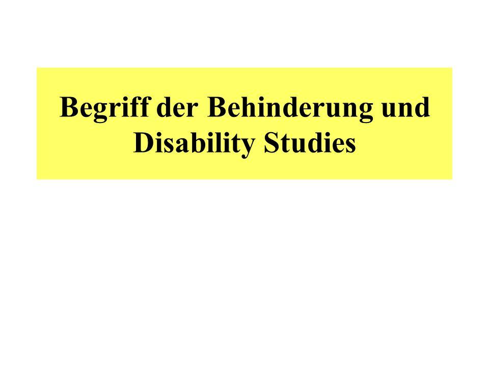 Begriff der Behinderung und Disability Studies