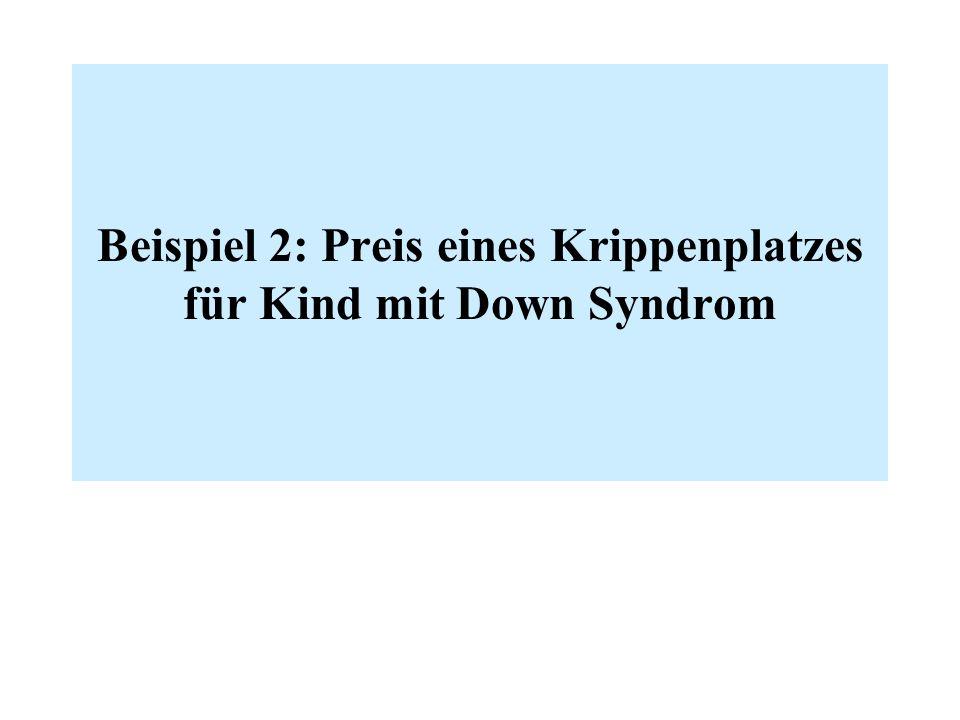 Beispiel 2: Preis eines Krippenplatzes für Kind mit Down Syndrom