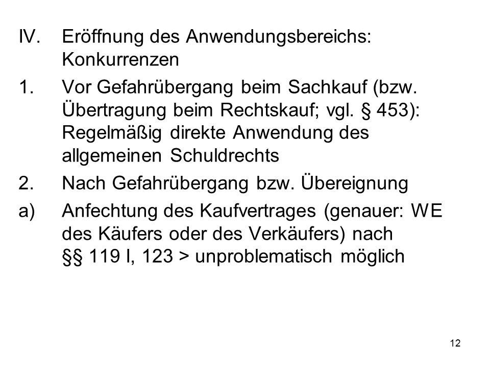12 IV.Eröffnung des Anwendungsbereichs: Konkurrenzen 1.Vor Gefahrübergang beim Sachkauf (bzw.