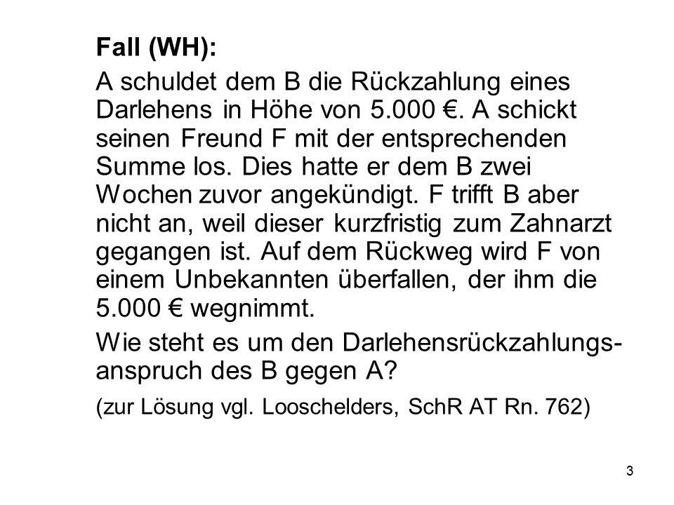 3 Fall (WH): A schuldet dem B die Rückzahlung eines Darlehens in Höhe von 5.000 €.