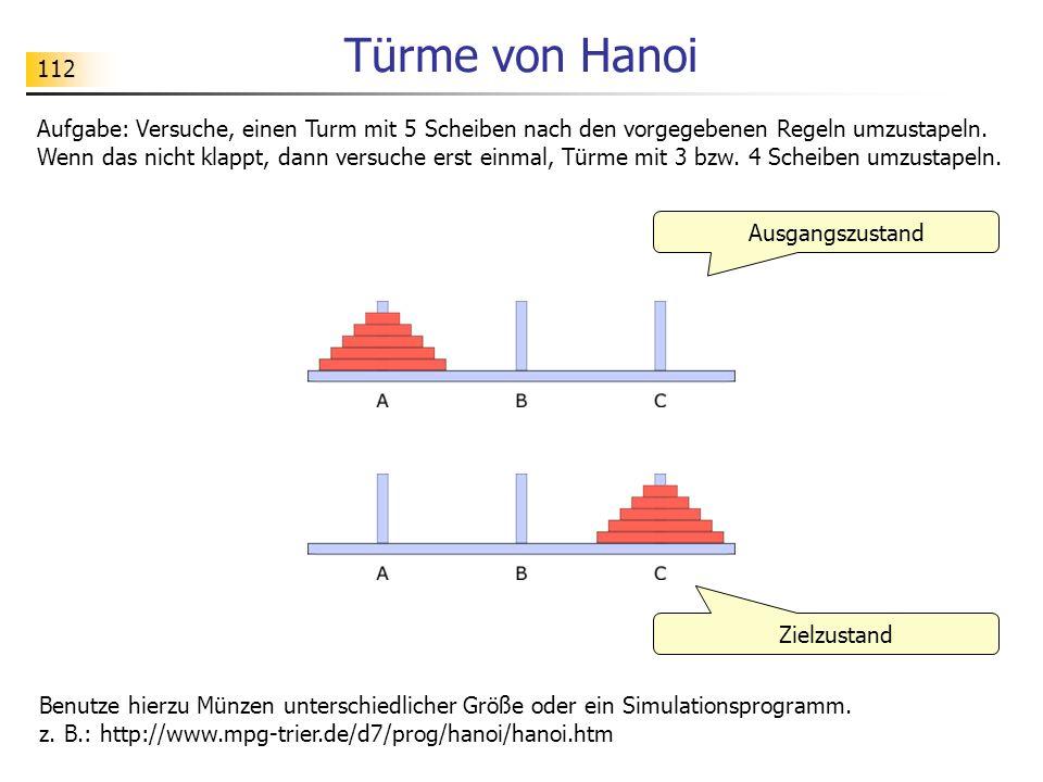 112 Türme von Hanoi Ausgangszustand Aufgabe: Versuche, einen Turm mit 5 Scheiben nach den vorgegebenen Regeln umzustapeln.
