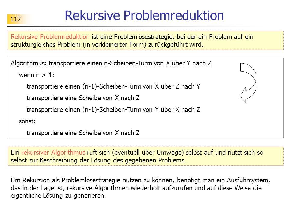 117 Rekursive Problemreduktion Rekursive Problemreduktion ist eine Problemlösestrategie, bei der ein Problem auf ein strukturgleiches Problem (in verkleinerter Form) zurückgeführt wird.