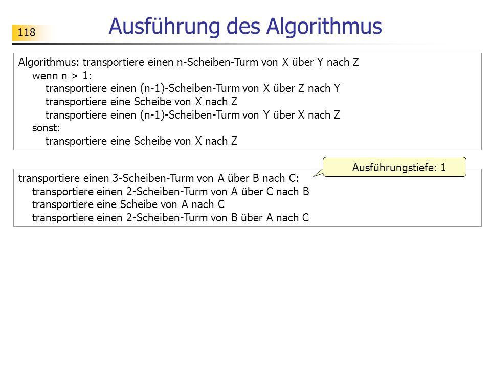 118 Algorithmus: transportiere einen n-Scheiben-Turm von X über Y nach Z wenn n > 1: transportiere einen (n-1)-Scheiben-Turm von X über Z nach Y transportiere eine Scheibe von X nach Z transportiere einen (n-1)-Scheiben-Turm von Y über X nach Z sonst: transportiere eine Scheibe von X nach Z Ausführung des Algorithmus transportiere einen 3-Scheiben-Turm von A über B nach C: transportiere einen 2-Scheiben-Turm von A über C nach B transportiere eine Scheibe von A nach C transportiere einen 2-Scheiben-Turm von B über A nach C Ausführungstiefe: 1