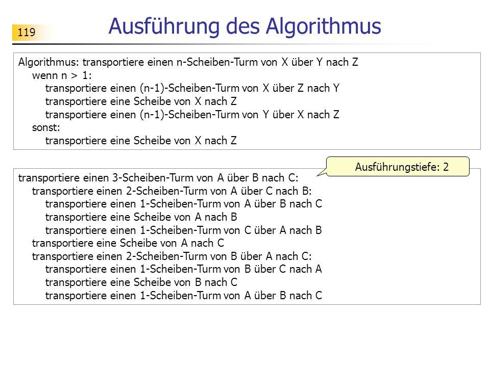 119 Algorithmus: transportiere einen n-Scheiben-Turm von X über Y nach Z wenn n > 1: transportiere einen (n-1)-Scheiben-Turm von X über Z nach Y transportiere eine Scheibe von X nach Z transportiere einen (n-1)-Scheiben-Turm von Y über X nach Z sonst: transportiere eine Scheibe von X nach Z Ausführung des Algorithmus transportiere einen 3-Scheiben-Turm von A über B nach C: transportiere einen 2-Scheiben-Turm von A über C nach B: transportiere einen 1-Scheiben-Turm von A über B nach C transportiere eine Scheibe von A nach B transportiere einen 1-Scheiben-Turm von C über A nach B transportiere eine Scheibe von A nach C transportiere einen 2-Scheiben-Turm von B über A nach C: transportiere einen 1-Scheiben-Turm von B über C nach A transportiere eine Scheibe von B nach C transportiere einen 1-Scheiben-Turm von A über B nach C Ausführungstiefe: 2