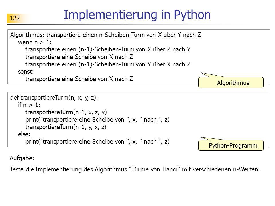 122 Implementierung in Python def transportiereTurm(n, x, y, z): if n > 1: transportiereTurm(n-1, x, z, y) print( transportiere eine Scheibe von , x, nach , z) transportiereTurm(n-1, y, x, z) else: print( transportiere eine Scheibe von , x, nach , z) Algorithmus: transportiere einen n-Scheiben-Turm von X über Y nach Z wenn n > 1: transportiere einen (n-1)-Scheiben-Turm von X über Z nach Y transportiere eine Scheibe von X nach Z transportiere einen (n-1)-Scheiben-Turm von Y über X nach Z sonst: transportiere eine Scheibe von X nach Z Algorithmus Python-Programm Aufgabe: Teste die Implementierung des Algorithmus Türme von Hanoi mit verschiedenen n-Werten.