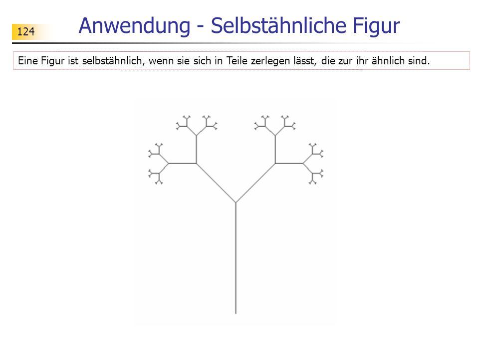 124 Anwendung - Selbstähnliche Figur Eine Figur ist selbstähnlich, wenn sie sich in Teile zerlegen lässt, die zur ihr ähnlich sind.