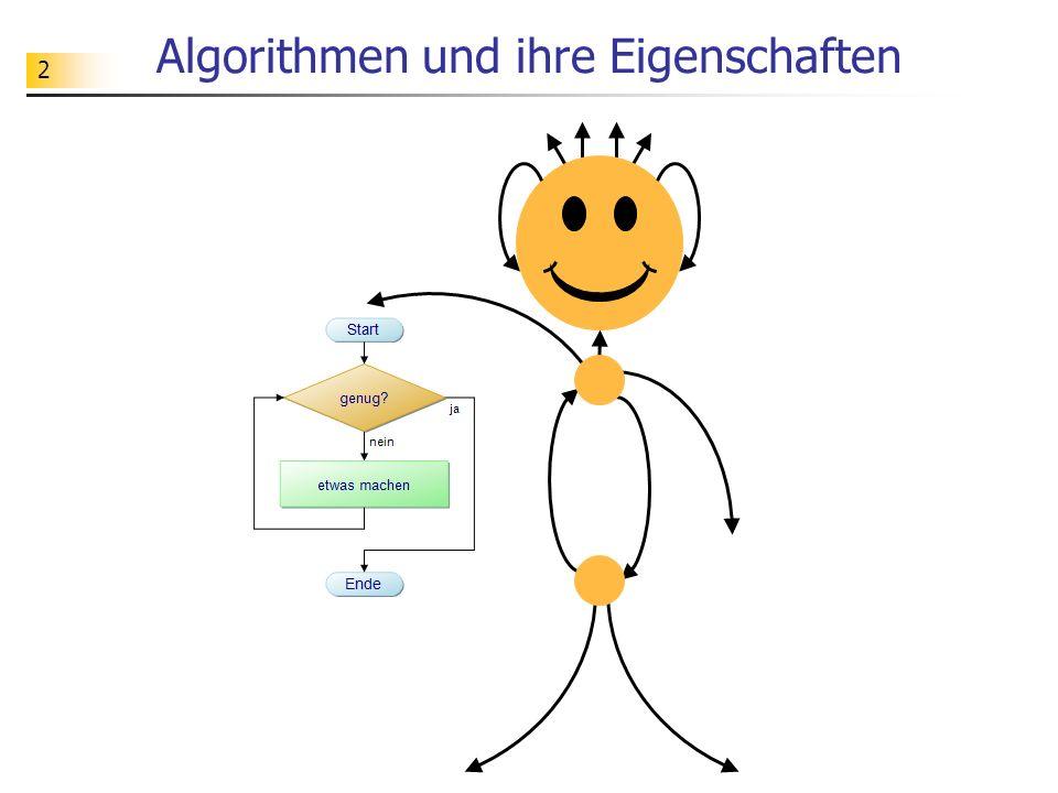 83 Korrektheitsnachweis über Testen vorher: { x = a; y = b; a, b  N + } nachher: { x = y = ggT(a, b) } vorher: { x = a; y = b; a, b  N } nachher: { x = y = ggT(a, b) } Beim Testen eines Algorithmus wird der Algorithmus bei bestimmten vorgegebenen Testdaten ausgeführt und dabei überprüft, ob er in diesen Fällen das gewünschte Verhalten zeigt.