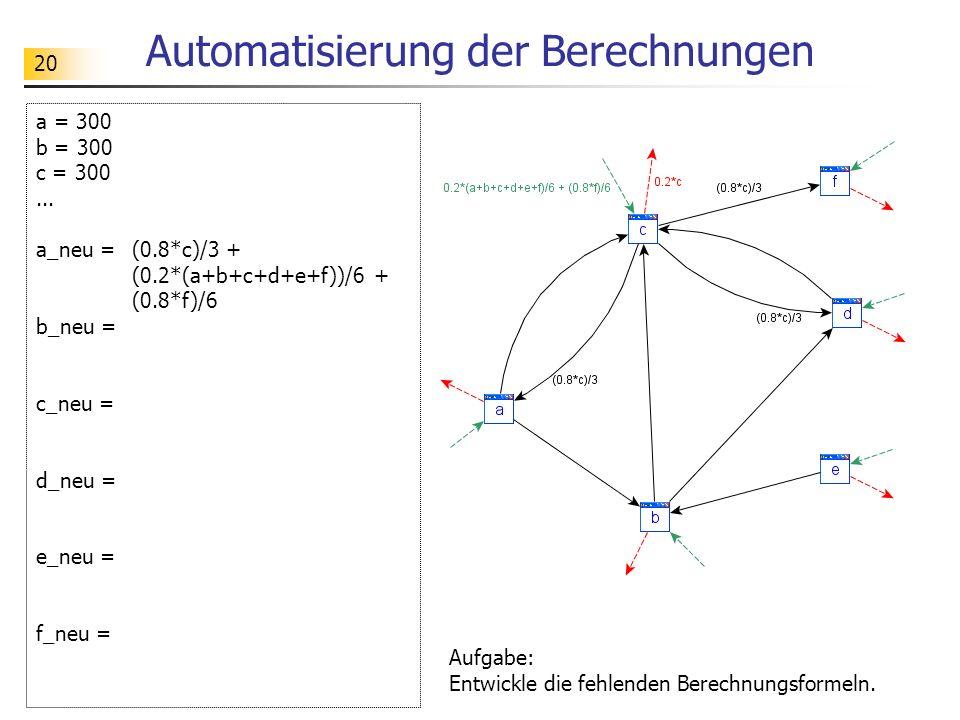 20 Automatisierung der Berechnungen a = 300 b = 300 c = 300...