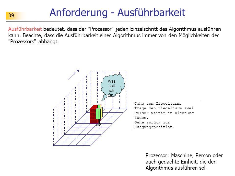 39 Anforderung - Ausführbarkeit Ausführbarkeit bedeutet, dass der Prozessor jeden Einzelschritt des Algorithmus ausführen kann.