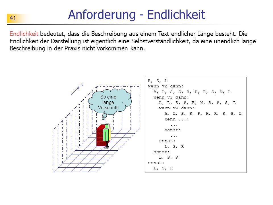 41 Anforderung - Endlichkeit Endlichkeit bedeutet, dass die Beschreibung aus einem Text endlicher Länge besteht.