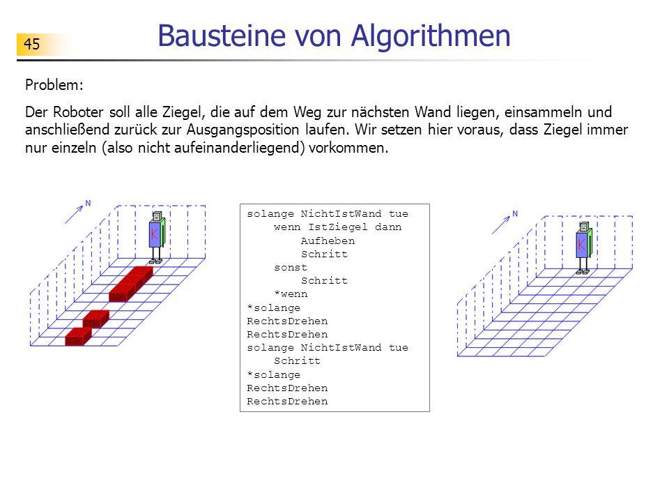 45 Bausteine von Algorithmen Problem: Der Roboter soll alle Ziegel, die auf dem Weg zur nächsten Wand liegen, einsammeln und anschließend zurück zur Ausgangsposition laufen.