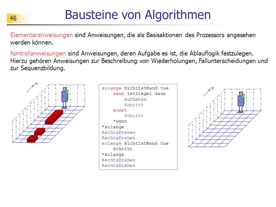 46 Bausteine von Algorithmen Elementaranweisungen sind Anweisungen, die als Basisaktionen des Prozessors angesehen werden können.