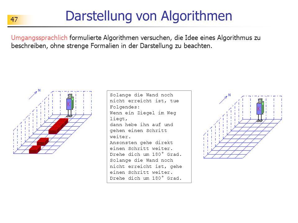 47 Darstellung von Algorithmen Umgangssprachlich formulierte Algorithmen versuchen, die Idee eines Algorithmus zu beschreiben, ohne strenge Formalien in der Darstellung zu beachten.