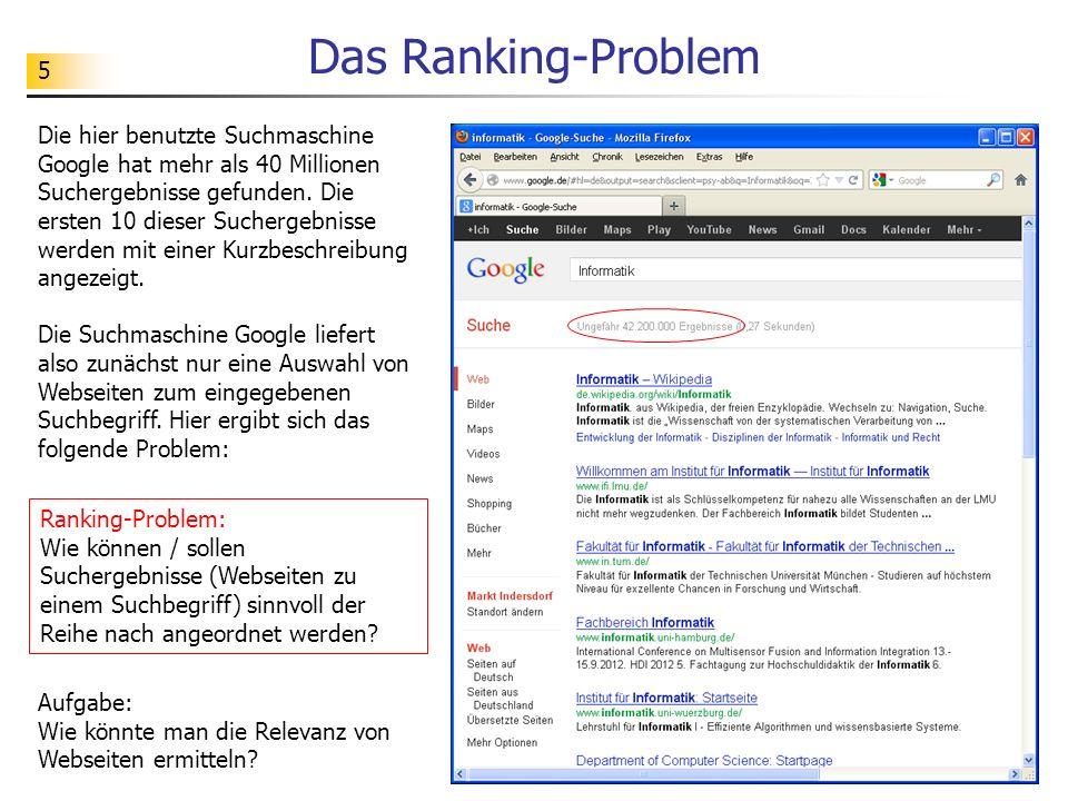 5 Das Ranking-Problem Die hier benutzte Suchmaschine Google hat mehr als 40 Millionen Suchergebnisse gefunden.