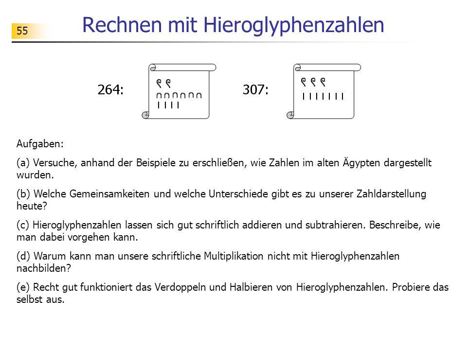 55 Rechnen mit Hieroglyphenzahlen Aufgaben: (a) Versuche, anhand der Beispiele zu erschließen, wie Zahlen im alten Ägypten dargestellt wurden.