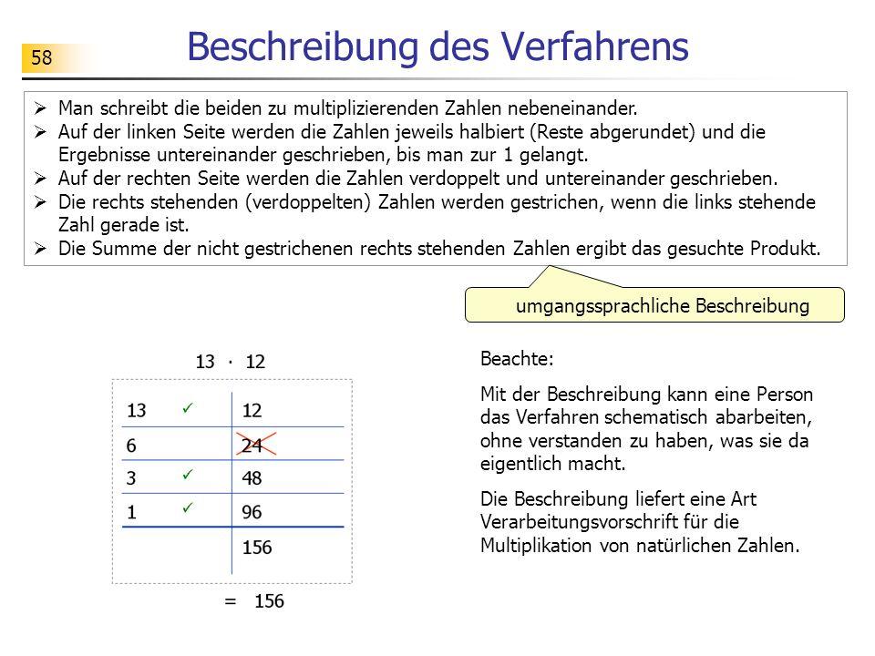 58 Beschreibung des Verfahrens  Man schreibt die beiden zu multiplizierenden Zahlen nebeneinander.