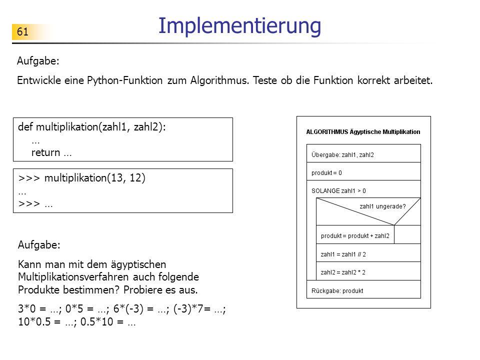61 Implementierung Aufgabe: Entwickle eine Python-Funktion zum Algorithmus.
