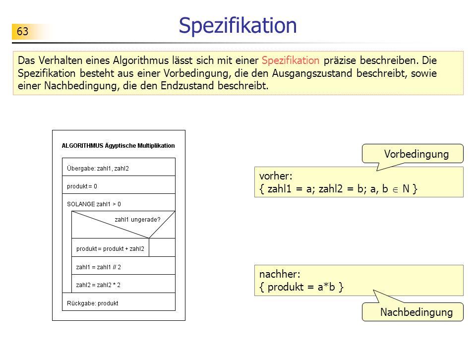 63 Spezifikation Das Verhalten eines Algorithmus lässt sich mit einer Spezifikation präzise beschreiben.
