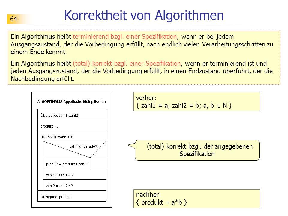 64 Korrektheit von Algorithmen Ein Algorithmus heißt terminierend bzgl.