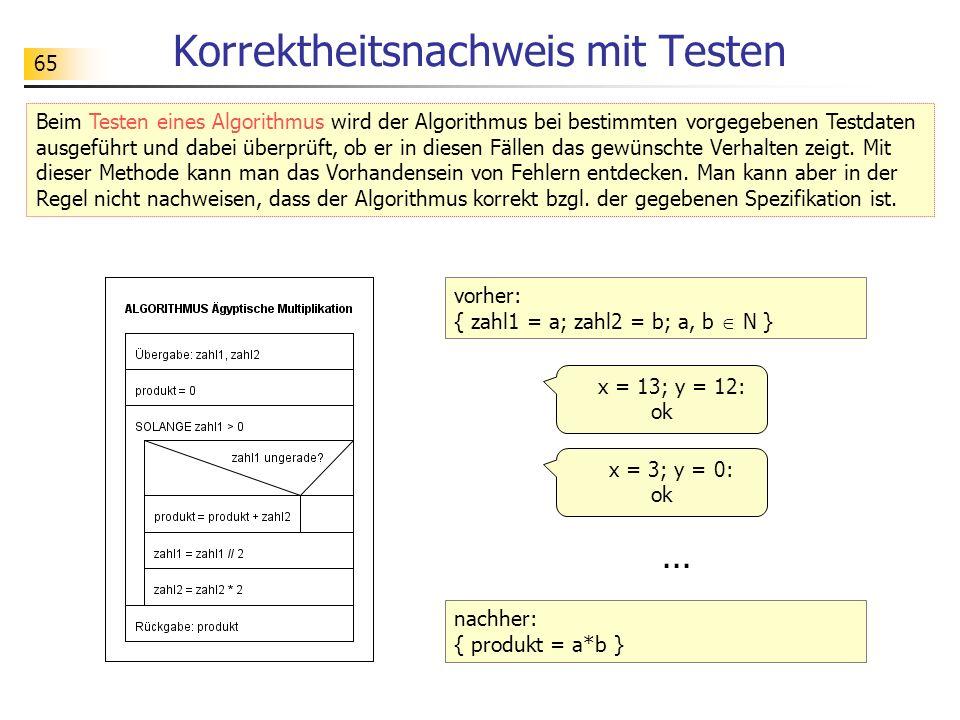 65 Korrektheitsnachweis mit Testen Beim Testen eines Algorithmus wird der Algorithmus bei bestimmten vorgegebenen Testdaten ausgeführt und dabei überprüft, ob er in diesen Fällen das gewünschte Verhalten zeigt.