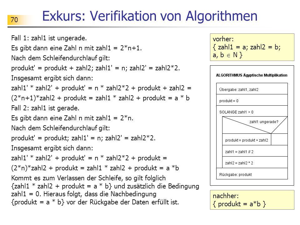 70 Exkurs: Verifikation von Algorithmen Fall 1: zahl1 ist ungerade.