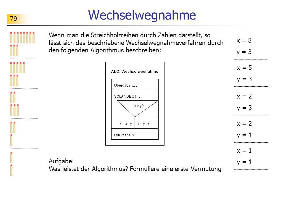 79 Wechselwegnahme Wenn man die Streichholzreihen durch Zahlen darstellt, so lässt sich das beschriebene Wechselwegnahmeverfahren durch den folgenden Algorithmus beschreiben: Aufgabe: Was leistet der Algorithmus.