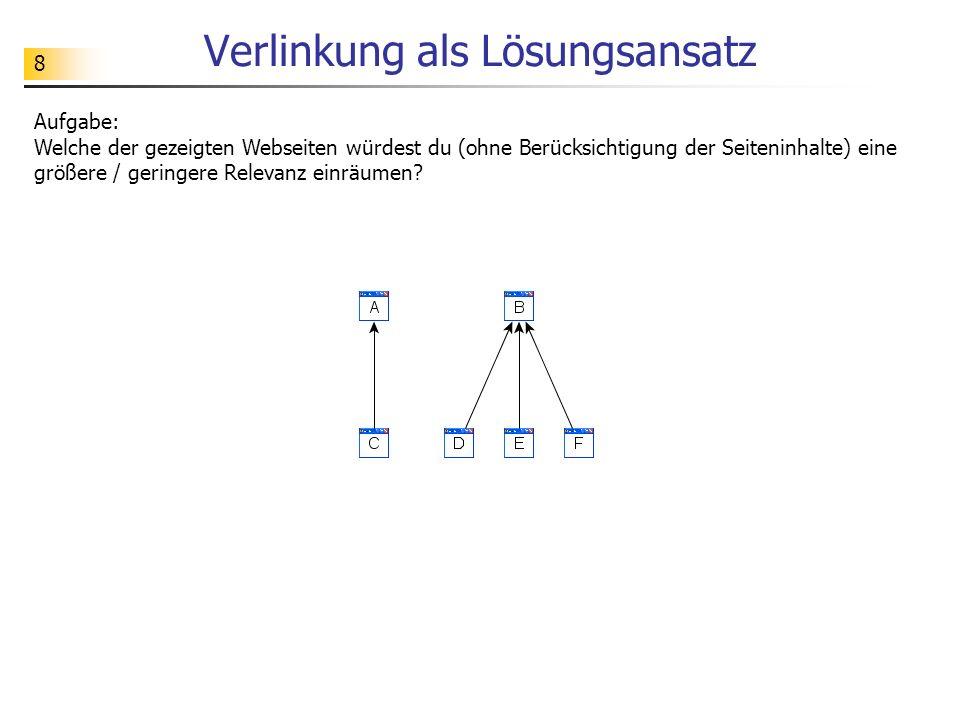 8 Verlinkung als Lösungsansatz Aufgabe: Welche der gezeigten Webseiten würdest du (ohne Berücksichtigung der Seiteninhalte) eine größere / geringere Relevanz einräumen?