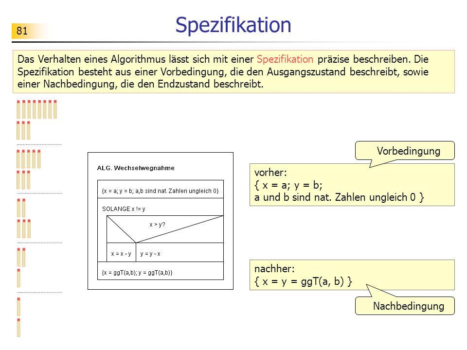 81 Spezifikation Das Verhalten eines Algorithmus lässt sich mit einer Spezifikation präzise beschreiben.