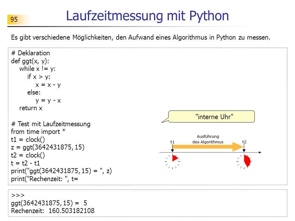 95 Laufzeitmessung mit Python Es gibt verschiedene Möglichkeiten, den Aufwand eines Algorithmus in Python zu messen.