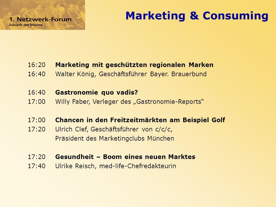 Marketing & Consuming 16:20Marketing mit geschützten regionalen Marken 16:40Walter König, Geschäftsführer Bayer.