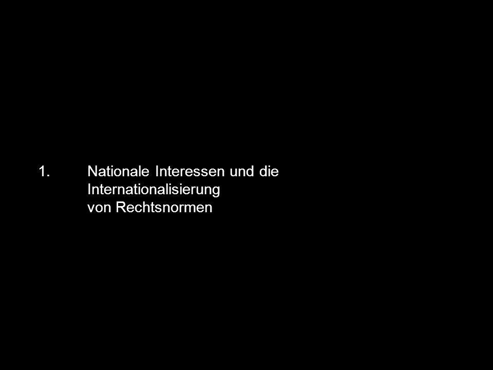 1. Nationale Interessen und die Internationalisierung von Rechtsnormen