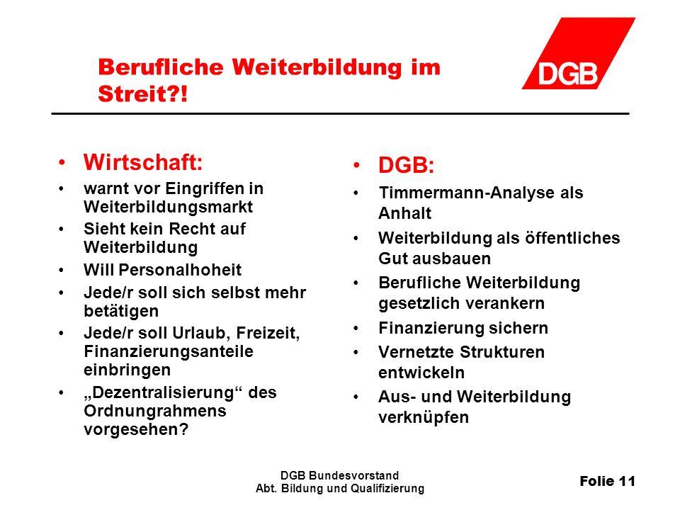 Folie 11 DGB Bundesvorstand Abt.Bildung und Qualifizierung Berufliche Weiterbildung im Streit?.