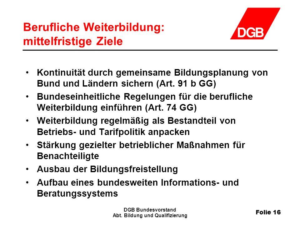 Folie 16 DGB Bundesvorstand Abt.